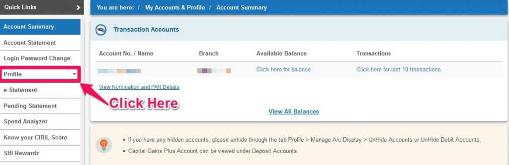 Change Mobile Number in SBI Account