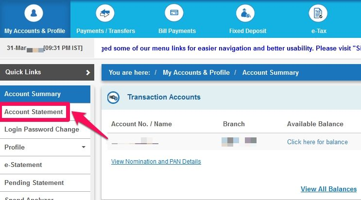 Find the Cif Number online netbanking