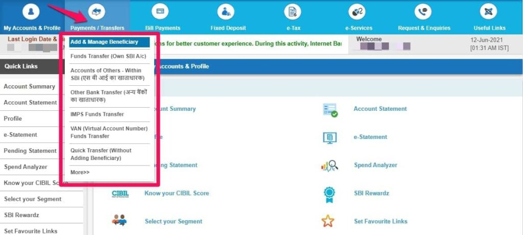 Add Intra Bank Beneficiary for Fund Transfer in SBI
