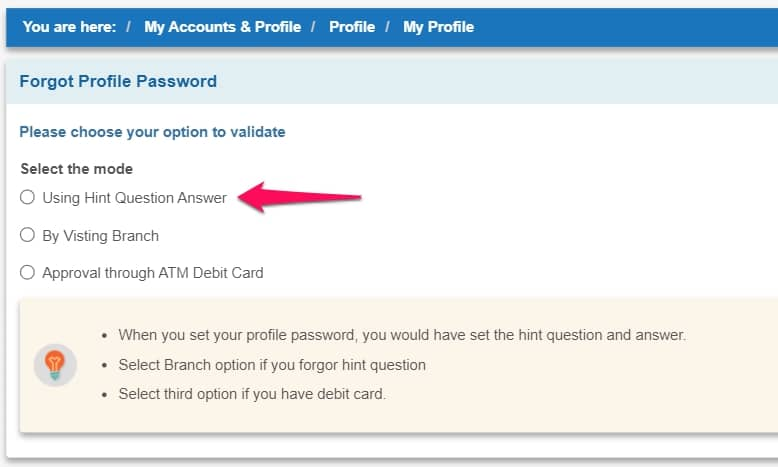 How to reset profile password in SBI without hint question