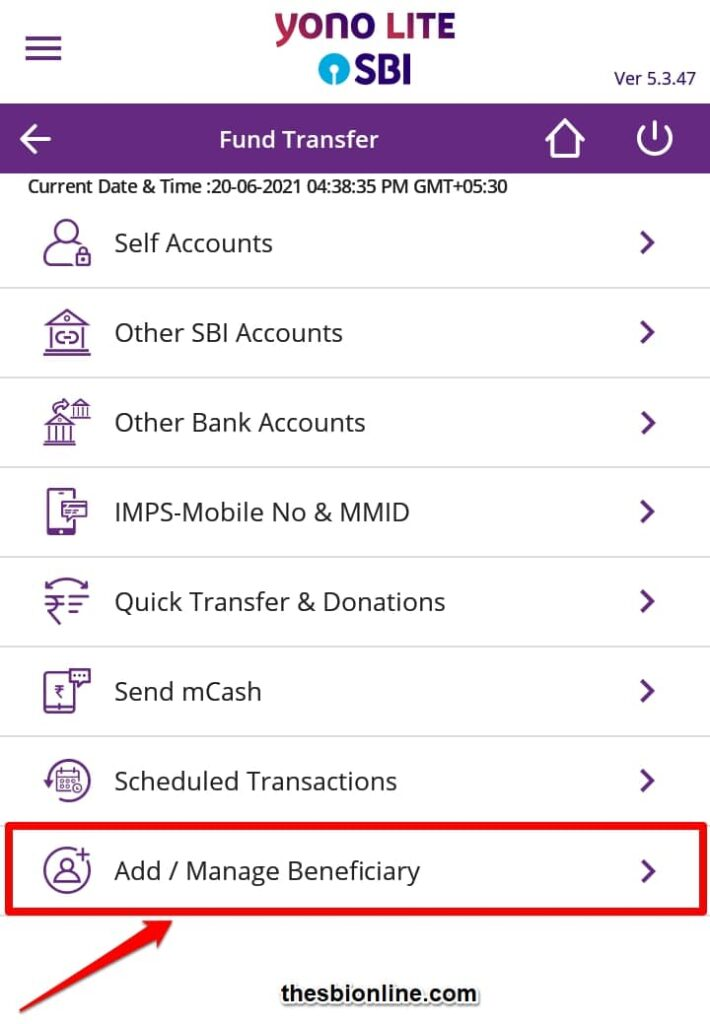 Add and Manage Beneficiary fund transfer in SBI