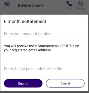 Enter account number and passcode to download SBI statement in SBI Quick App