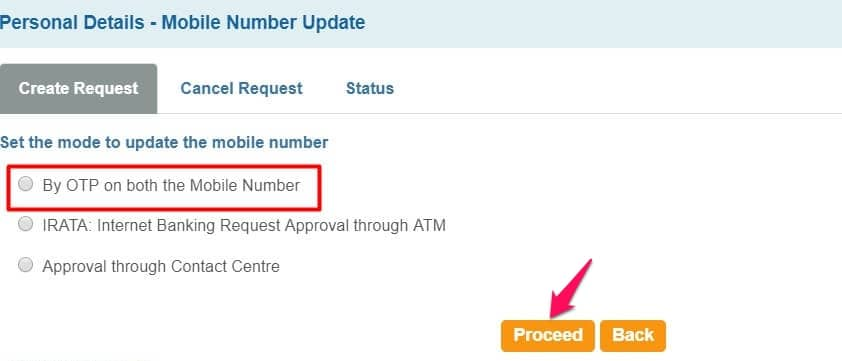 how to change registered mobile number in sbi through SMS