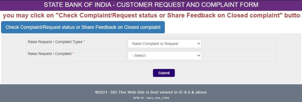 Register Complaint Online and Status Check in SBI