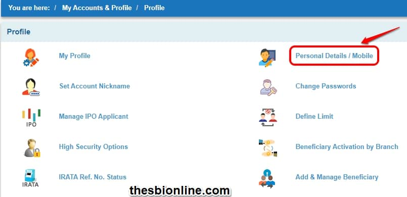 SBI Personal Details / Mobile