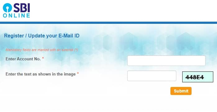 Register Email in SBI account