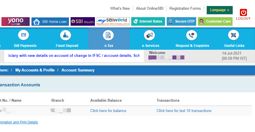 transfer of sbi account to another branch internet banking