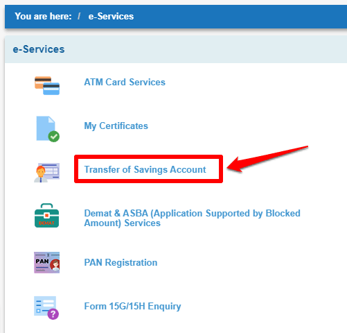 How to transfer SBI account to another branch using internet banking